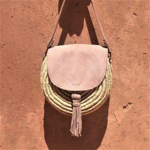 sac à main femme pour l'été en raphia et cuir fait à la main marque flo and jouls flo&jouls