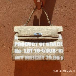 sac à main femme imprimé en toile de jute fait à la main par nos artisans a marrakech marque flo and jouls flo&jouls
